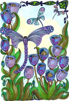 Creative Haven Entangled Dragonflies Coloring Book By BellaBella by the sea ~~~ on Jun 21, 2016  I always get excited when I see a dragonfly, they are rare to see in our slightly dry climate. I'm loving working this coloring book by Angela Porter and dedicated to the elegant dragonfly.