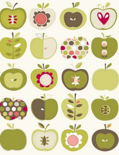 Angela Nickeas Illustration.  This pattern would be darling as kitchen curtain, &/or tablecloth with accessories in the apple theme!