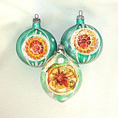 3 Bright Green Yellow Glittered Indent Christmas Ornaments. Click on the image for more information.