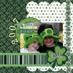 #papercraft #scrapbook #layout st patty's day layout - paper by reminisce... scrapbook layout,st patrick's day layout,12 X 12 layout,scrapbook page,st patricks day,boys layout,tami sanders
