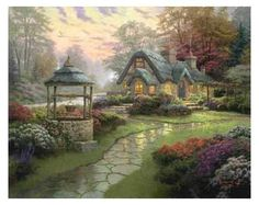 Make a Wish Cottage Painting by Thomas Kinkade