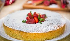 Curtis Stone's Olive Oil Cake With Strawberry-Rhubarb Compote