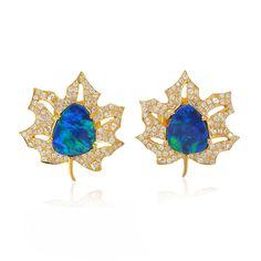 2.2ct Opal Doublet 18k Yellow Gold Maple Leaf Stud Earrings Pave Diamond Jewelry   Jewelry & Watches, Fine Jewelry, Fine Earrings   eBay!
