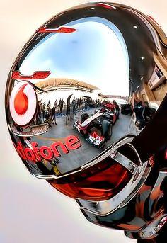 Insomnia lg JJ F1 -chrome -chromatic red lense -well sculpted - word on helmet to draw focus back to helmet itself.