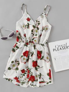 2114e5353c1b ROMWE offers Floral Print Random Surplice Cami Romper   more to fit your  fashionable needs.