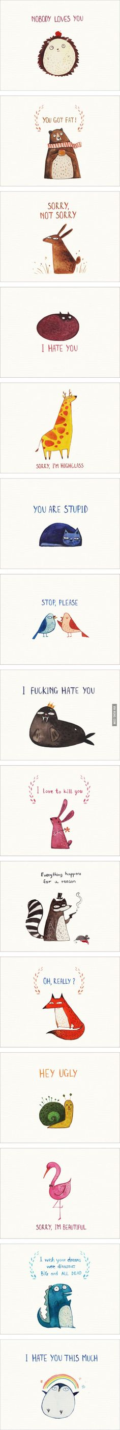 15 Cute Postcards For Your Enemies. Best part is u can give it to your BFFs too lol