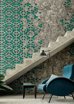 """EXA par designer Giovanni Pesce  [[The textured stone-like effect of this wallpaper sold by """"Wall&decò"""",  leaves us in awe ofits striking beauty. It's carefully constructed  deconstruction at its finest.Partiallyinstall a favorite geometric tile  to a not so perfect wall and surprise yourself with the satisfactionyou  can have with can be with a job not quite done, or visit  www.wallanddeco.com to purchase.///L'effettexturépierreuxdecepapier  pein..."""