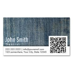 Make a terrific first impression with this Blue Jeans QR Code Dentist Business Card. Customise this design as your own just in minutes. Dental Business Cards, Qr Code Business Card, Business Card Design, Business Flyers, Bussiness Card, Print Templates, Card Templates, Plastic Card, Business Look