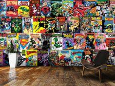 comics dc wall mural decor murals wallsauce comic montage setting