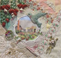 I ❤ crazy quilting & ribbon embroidery . Hummingbird and Fushias ~By Gerry K, olderrose Crazy Quilting, Crazy Quilt Stitches, Crazy Quilt Blocks, Crazy Patchwork, Patch Quilt, Patchwork Ideas, Silk Ribbon Embroidery, Embroidery Stitches, Embroidery Patterns