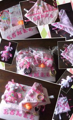 Memobord, knuffeldoekje en popje....kraampakketje voor babymeisje Esmee