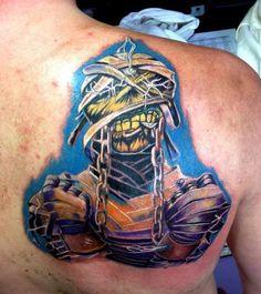 Stunning Mummy Iron Maiden Tattoo On Back Shoulder
