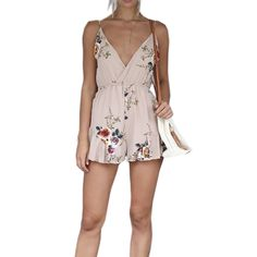 Summer Women Strappy V Neck Beach Party Jumpsuits Rompers Boho Female Floral Printed Backless Casual Loose Shorts Mini Pants