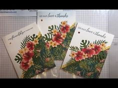 Card Tutorials, Video Tutorials, Friendship Cards, Tropical Leaves, Daffodils, Paper Cutting, Hibiscus, Oasis, Stampin Up