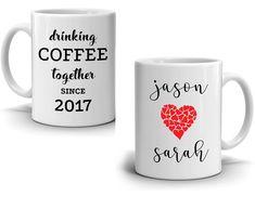 Drinking Coffee Together - Couple's Coffee Mug - Printed on Both Sides Couples Coffee Mugs, Coffee Mug Sets, Coffee Gifts, Mugs Set, Coffee Drinks, Gifts In A Mug, Drinking Coffee, Weird Gifts, Mug Printing