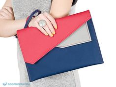 Enveloppe embrayage, bleu marine rouge, étui pour ipad vegan