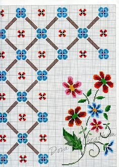Cross stitch border and flowers