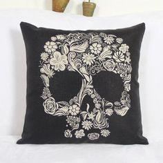 Calavera Skull Printed Square Pillow Case