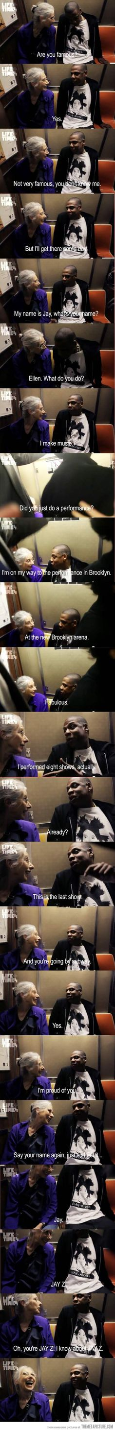 I just love that Jay-Z was so sweet about the whole thing. I love his face at the end