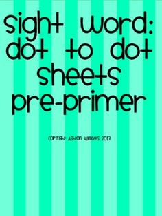 The Pre-Primer set includes all 40 words. The first practice sheet has students trace, color, circle and stamp t. Sight Word Activities, Writing Activities, Popcorn Words, Pre Primer Sight Words, Sight Word Practice, Early Reading, Kindergarten Fun, Word Work, Special Education