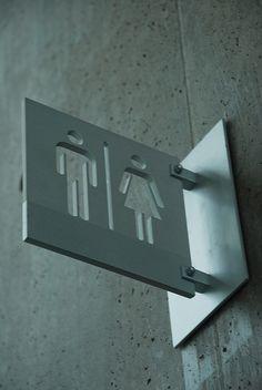 Cool metal bathroom signs inside the Ft. Worth Modern by pumpernickel, via Flickr Blade Signage, Metal Signage, Wayfinding Signage, Signage Design, Indian Style, Bathroom Signage, Bathroom Interior, Quotes Pink, Black Quotes
