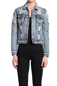 Themogan Women'S Draped Chain Distressed Rip Denim Jacket *** Find out more about the great product at the image link.