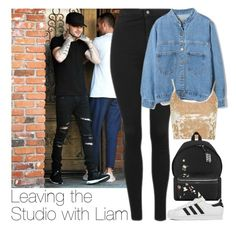 """Leaving the Studio with Liam"" by zarryalmighty ❤ liked on Polyvore featuring Topshop, WithChic, Yves Saint Laurent, adidas and LiamPayne"