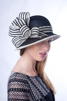 Cloche sun derby hat with big bow by Irina Sardareva Couture Millinery