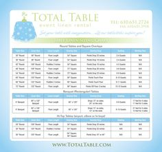 This little guide is helpful to newbies, event interns, and as a refresher. Table dimensions and the appropriate linens to use for the table of your choice. Wedding Linens, Wedding Rentals, Diy Wedding, Wedding Reception, Wedding Venues, Wedding Programs, Wedding Themes, Wedding Stuff, Oval Tablecloth