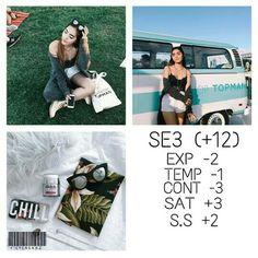 SE3 Exposure -2 Tenperature -1 Contrast -3 Saturation +3 Shadows Save +2