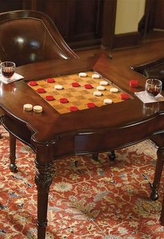 Enjoy hours of fun at the Freeman Game Table Set that features a handsome cherry finish and supple leather chairs that won't sacrifice your home's décor.