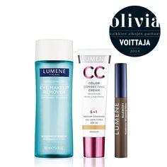 Olivia Kaikkien Aikojen Parhaat: Waterproof Eye Make Up Remover, CC Color Correcting Cream & Blueberry Eyebrow Shaping Wax. #beautyaward #lumene