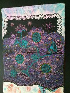 Multi color floral zentangle art journal page.  Miranda Bosch - Thurlings
