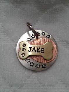 Hand stamped metal pet ID tag - dog ID Tag -- personalized -- custom