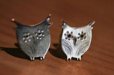 Sterling Silver Hand Cut Owl Stud Earrings by ElleCreation on Etsy, $30.00
