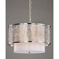 Update the look of any room and brighten things up with a beautiful light. This gorgeous contemporary chandelier has three lights, a satin nickel finish and a lovely white shade.