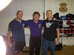Chris Kent with two of the top JKD instructors in the UK -- Dave Carnell (R) and Mark Connaughton (L)
