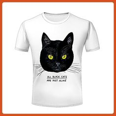 ZeShan Mens Tee Shirts Top S-XXXL Graphic Black Cat Face 3d Printing T-Shirt XXL - Animal shirts (*Partner-Link)