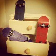 """Where we keep our #fingerboards #safe. #certifiedpopcrazy #mini #drawer #closet #pocketpop #blue #red #purple #oakwheels #ytrucks #fingerskate #three"""