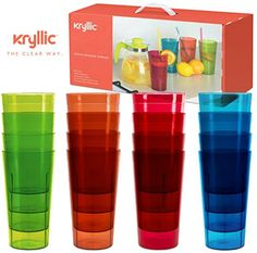 Plastic Tumblers Drinkware Glasses Cups - Acrylic Tumbler Set of 16 Break Resistant 20 oz. in 4 Assorted Colors Restaurant Quality Tumblers Dishwasher Safe and BPA Free by Kryllic, Acrylic Tumblers, Plastic Tumblers, Plastic Cups, Silverware Tray, Shattered Glass, Cupping Set, Tumbler Cups, Drinkware, Clear Acrylic