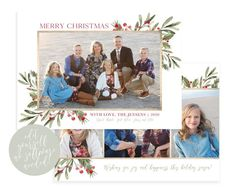Send a Christmas card this season that friends and family will love. This 5x7 Christmas card template is very easy to use! The watercolor holly is sure to highlight your beautiful family picture! The template is instantly available after purchase! Easy to edit in your web browser, download and print Christmas Card Template, Merry Christmas Card, Christmas Photo Cards, Christmas Photos, Holiday Cards, Holiday Birth Announcement, Birth Announcement Template, Photoshop For Photographers, Joy And Happiness