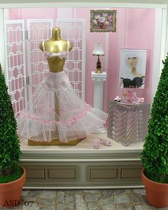 think pink window display diorama