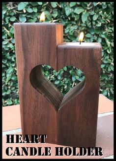 Heart Candle Holder #woodworking #workshop #decor #WoodworkingProjects