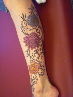 Mehndi Style Tattoo with Flowers