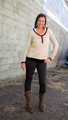 Simple fall style with leggings and comfy tops. #leggings #blackandtan — at Our Little Store Boutique. Phone Orders: 801-763-2700