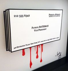 American Psycho Patrick Bateman Business Card 3D Pop By PopsicArt Poster Horror Decor