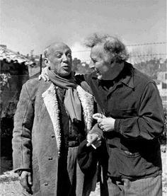 -Pablo Picasso y Marc Chagall en St Paul de Vence, Francia, 1955 [Foto por Philippe Halsman]...