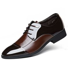 Sapato masculino social em couro Lace Up Oxfords Flats.
