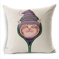 Naughty Cat Square Throw Pillow Case Cushion Cover 45X45Cm(18X18In) Cute Cartoon Pillow Cover Home