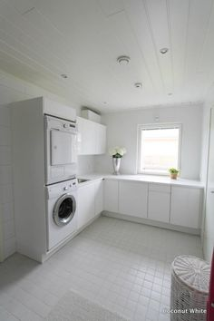 Coconut White: White laundry room